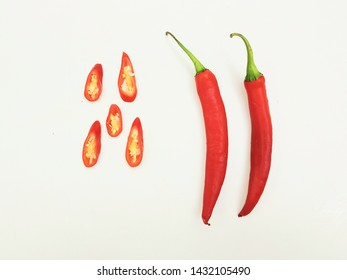 fresh red chilli peper with nice sliced isolated on white background
