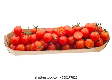 Fresh red cocktail tomatoes in a tray.