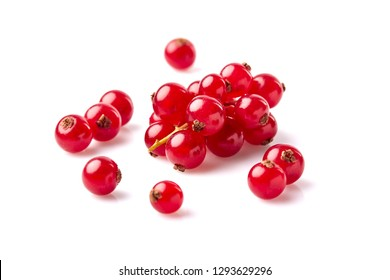 fresh  red currant berries photographed closeup isolated on a white background