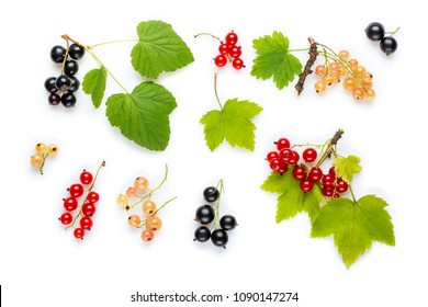 Fresh red currant, black currant and white currant berries with leaves on white. Flat lay. Top view.