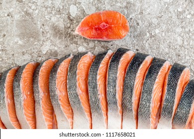 fresh red fish cut steak