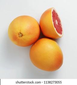 Fresh Red Grapefruits. Slice. Top viewe.