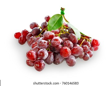 Fresh red grapes isolated on white background with chipping path