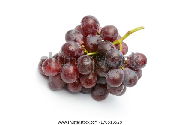Fresh red grapes isolated on white