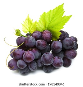 fresh red grapes  on a white background
