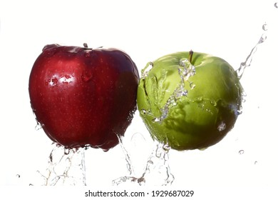 fresh red and green apple with white background