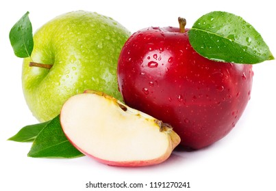 fresh red and green apples isolated on white background