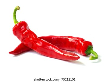 fresh red hot pepper on a white