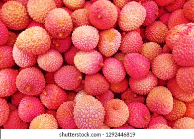 Fresh red litchi, lichee, lychee, or lichi, Litchi chinensis background. Close up photography