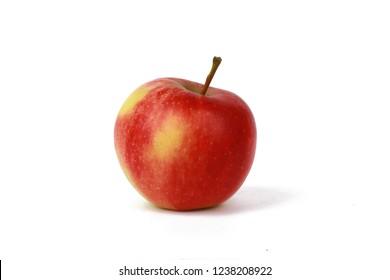 Fresh red natural apple isolated on white - organic apples - Fresh raw organic fruit