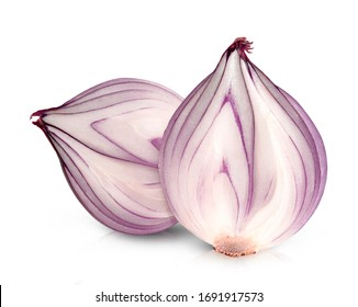 fresh red onion isolated on white background.Clipping path.