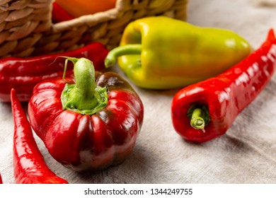 Fresh red paprika, vegetables