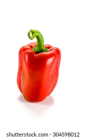 Fresh red pepper on the white background