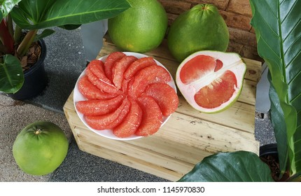 Fresh red pomelo this sweet