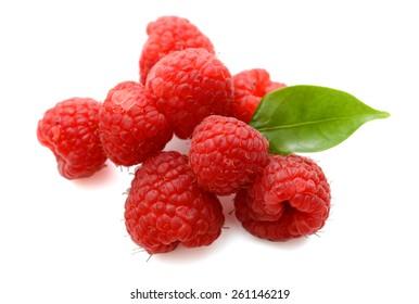 fresh red raspberries on white background
