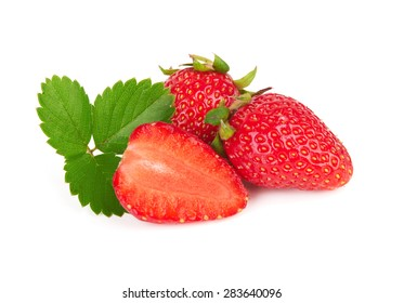 Fresh red ripe strawberries isolated on white background