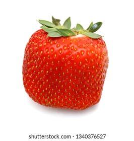 Fresh red ripe strawberry isolated on white, macro image