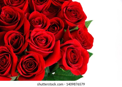 Fresh red roses bouquet flower background