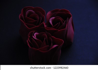 Fresh red roses on a dark background