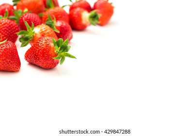 Fresh red strawberries isolated on white