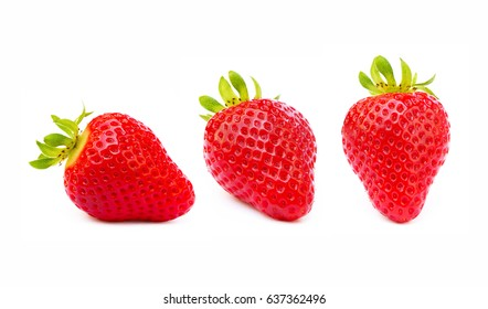 Fresh red strawberries isolated on a white background