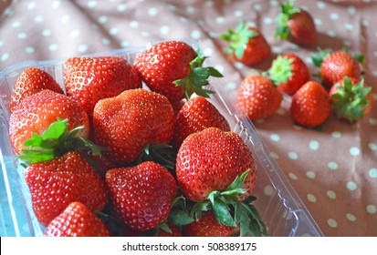 fresh red strawberry in a punnet and some on polkadot fabric