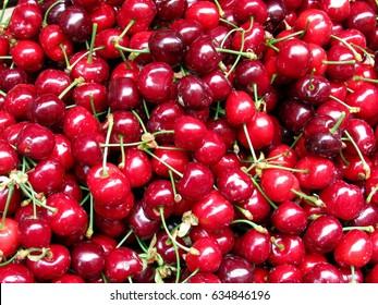 Fresh red Sweet Cherries at the Farmer's Market.
