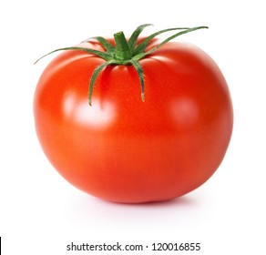 Fresh red tomato with green stem on white background