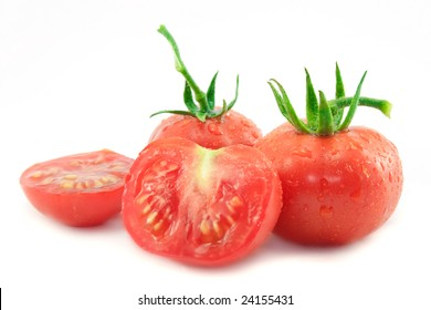 Fresh red tomato on white background