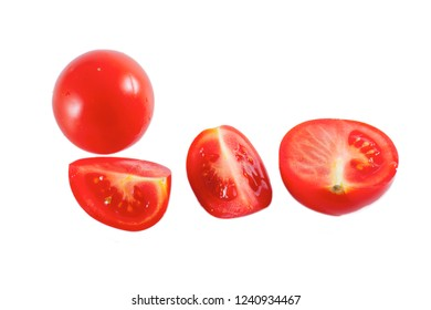 Fresh red tomatoes isolated on the white background