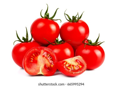 Fresh red tomatoes on a white background and one cut