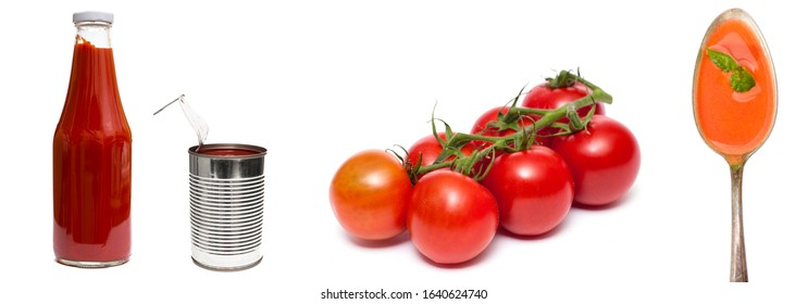 Fresh red tomatoes in a tin ketchup and soup white isolated