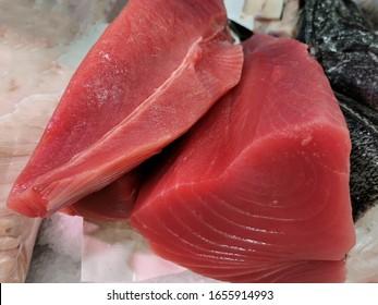 fresh red tuna loin at market