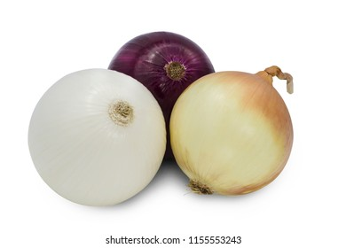 fresh red, white and gold onions bulb on white background