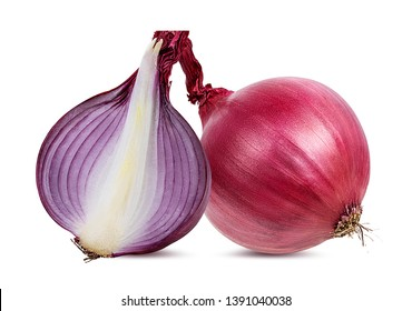 Fresh red and white onions isolated on white background  with clipping path