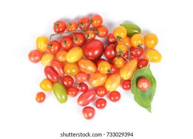 Fresh Red yellow Tomato Green Basil Leaf vegetable ingredients