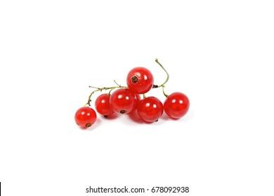Fresh redcurrant fruit (Ribes rubrum) isolated on the white background
