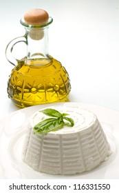 fresh ricotta with basil leaf