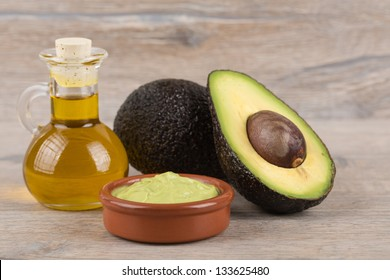 fresh, ripe avocado on a wooden background