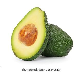 Fresh ripe avocados on white background