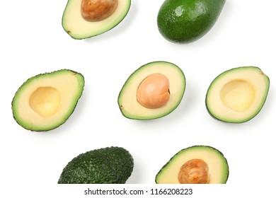 Fresh ripe avocados on white background, flat lay