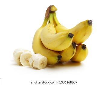 Fresh ripe bananas on white background