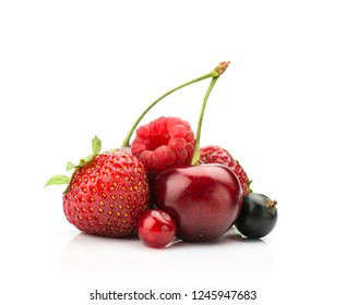 fresh ripe berries photographed closeup on a white isolated background.