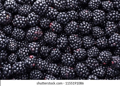 Fresh ripe blackberries as background, top view