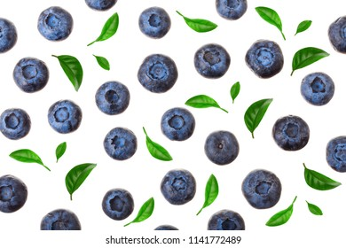 fresh ripe blueberry isolated on white background. Top view. Flat lay pattern