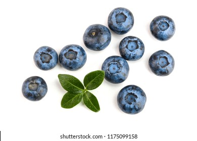 fresh ripe blueberry with leaf isolated on white background. Top view. Flat lay pattern