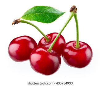 Fresh ripe cherry with leaves isolated on white. With clipping path.