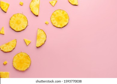 Fresh ripe cut pineapple on color background