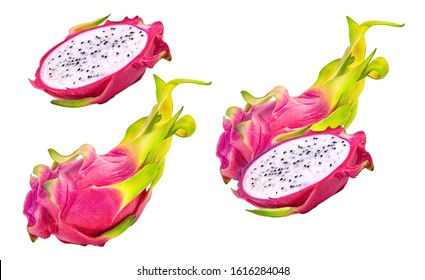Fresh ripe dragon fruit, whole, half cut fruits set isolated. Dragon fruit design elements, focus stacking, white background. Raw tropical asian pitaya  pitahaya fruits, healthy food nutrition clipart