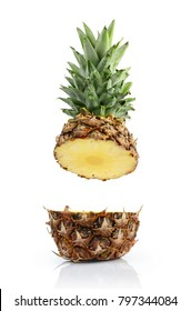 Fresh ripe flying cut juicy pineapple for healthy nutrition isolated on white background